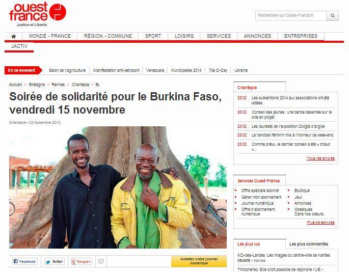 Article Ouest France du 3 novembre 2013 : Soirée de solidarité pour le Burkina Faso, vendredi 15 novembre