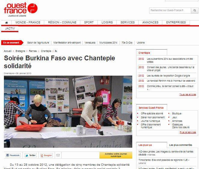 Soirée Burkina Faso avec Chantepie solidarité