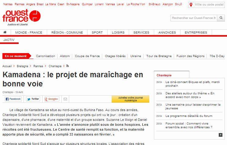 Ouest France : Kamadena,le projet de maraîchage en bonne voie